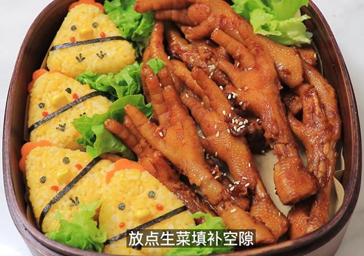 韩式便当|小鸡饭团&卤鸡爪+水果茶